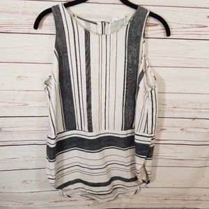 Linen Blend Tank Lush Large Striped Preppy